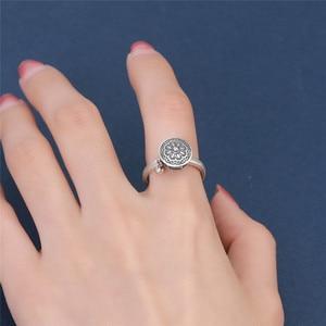 Image 5 - V.YA 100% 925 Silver Buddhist Ring for Women Tibetan Prayer Wheel Ring OM Mantra Ring Good Luck Women Ring