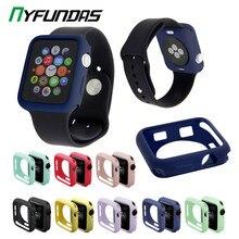 Slim silicona funda para reloj para iWatch de Apple Watch Serie 6 5 4 3 2 1 44 MM 40MM 42MM 38MM 38 40 42 44 MM TPU caso suave Accesorios