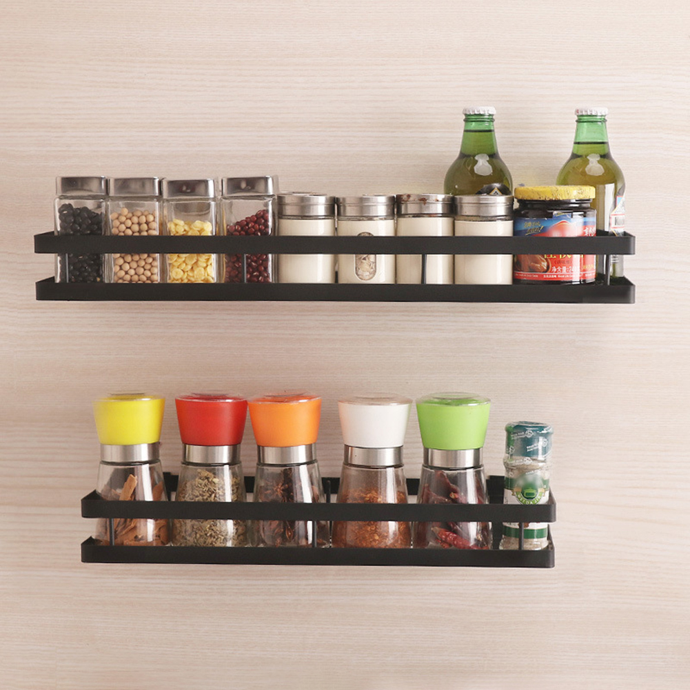 Wall Mounted Kitchen Organizer And Wall Storage Shelf For Spice Jars With Raised Fence