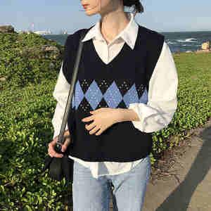 Women Sweater Vest Tops Pullover Argyle Geometric Knitted Korean-Style Vintage V-Neck