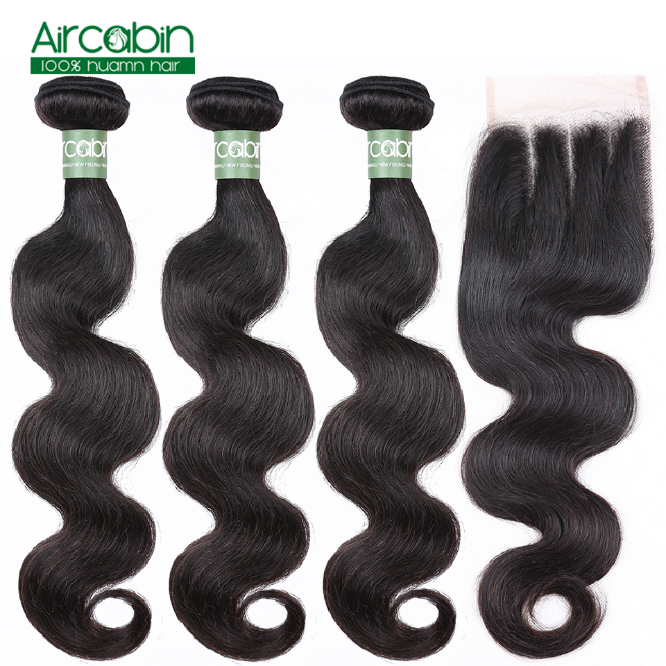 Aircabin Hair Body Wave Bundles With Closure Peruvian Hair Remy Human Hair Weave Bundles And Lace Closure Extensions
