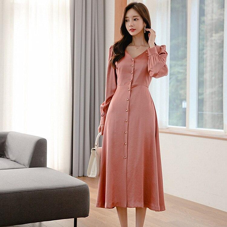 2019 Autumn New Products Korean-style V-neck Single Breasted Fashion Corset Elegant Big Hemline Elegant Ol Dress Women's