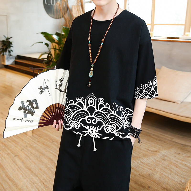 Chinese-style Summer Flax Short Sleeve Set Large Size Two-Piece Set Sackcloth Loose-Fit Half Sleeve T-shirt Cotton Linen Lay Clo