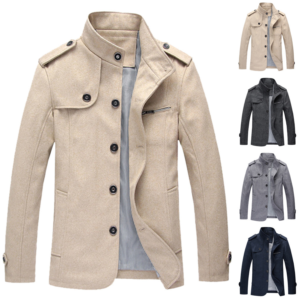 Winter Coat Jacket Outwear Turn-Down-Collar Fashion Men Casual Support Solid Long-Sleeve