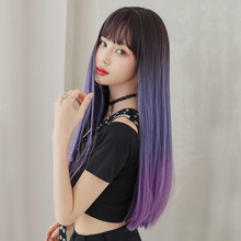 PIAOYUN WIGS Long Straight Three Color Black Blue Purple With Bang Synthetic Wig 26 Inches Heat Resistant Wig For Women