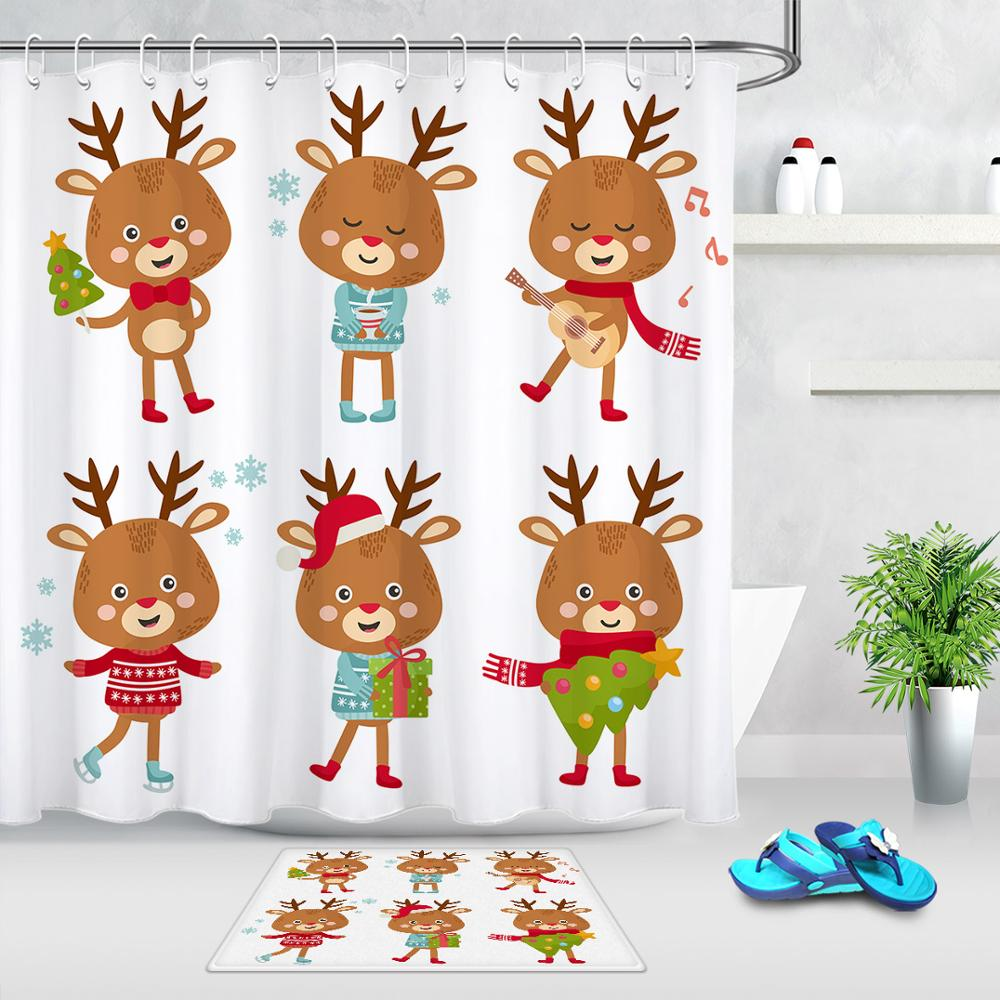 High Quality Waterproof Shower Curtain Cute Christmas <font><b>Deer</b></font> <font><b>Bathroom</b></font> Products Bathtub Shower Curtain With Hooks & Door <font><b>Mats</b></font> Rugs image