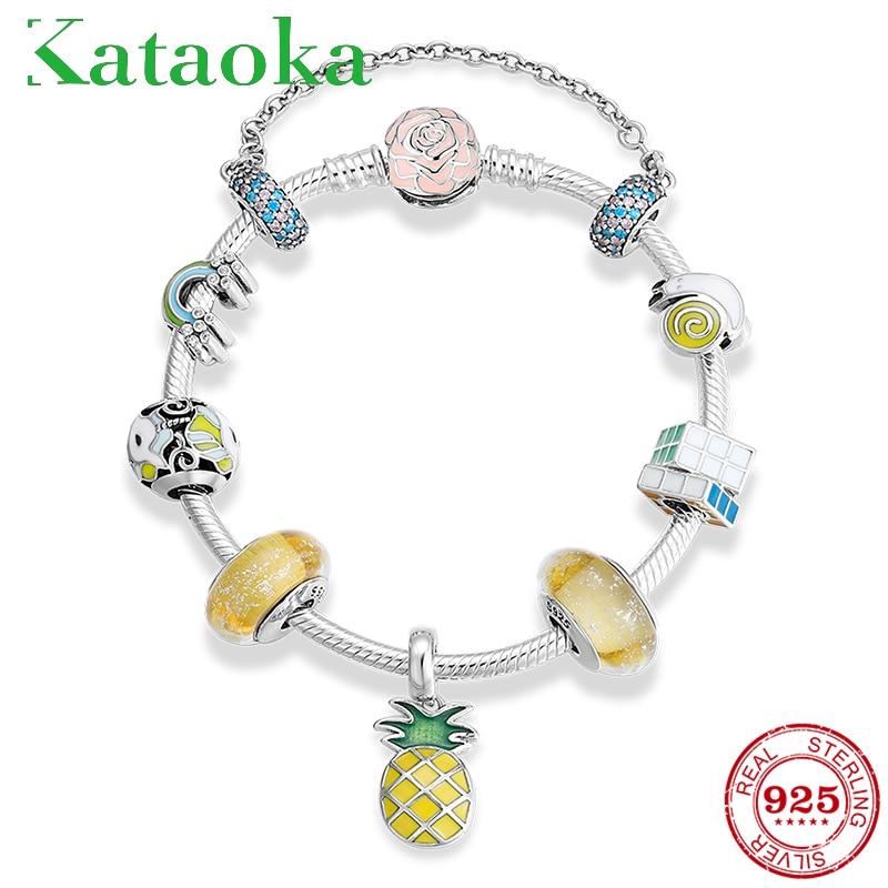 Летний тропический ананас фрукты 925 пробы серебряный желтый серии кулон браслет модный браслет ювелирные изделия
