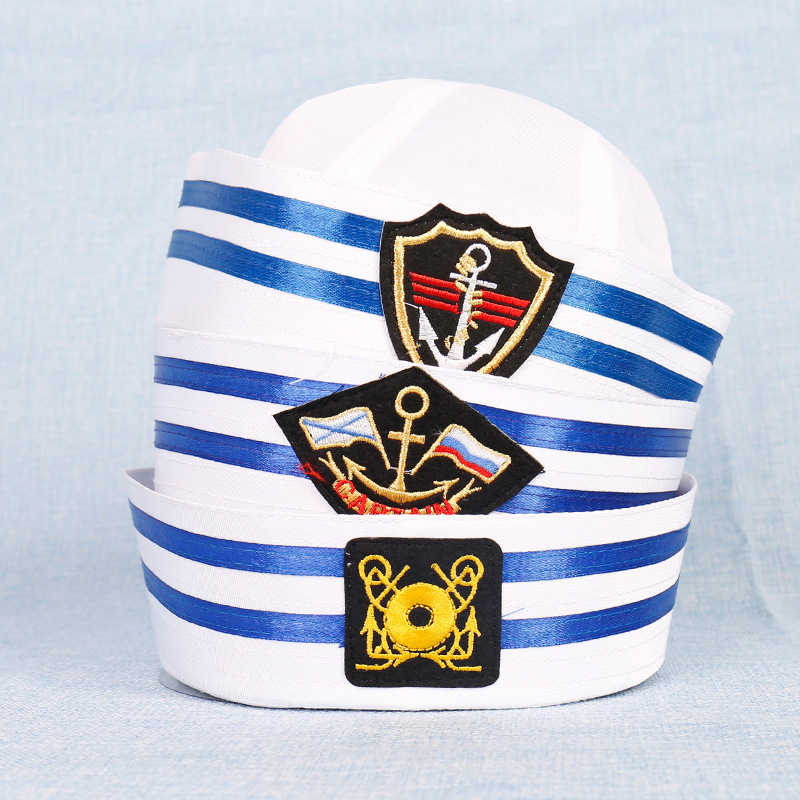 New Adult Kids Sailors Party Cosplay Military Hats White Navy Marine Captain Cap With Anchor Sea Boating Nautical Children Hats