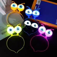Glitter Eyeballs Headband Party Dance Halloween Headdress Props Luminous Alien Led Headband with Big Eye(China)