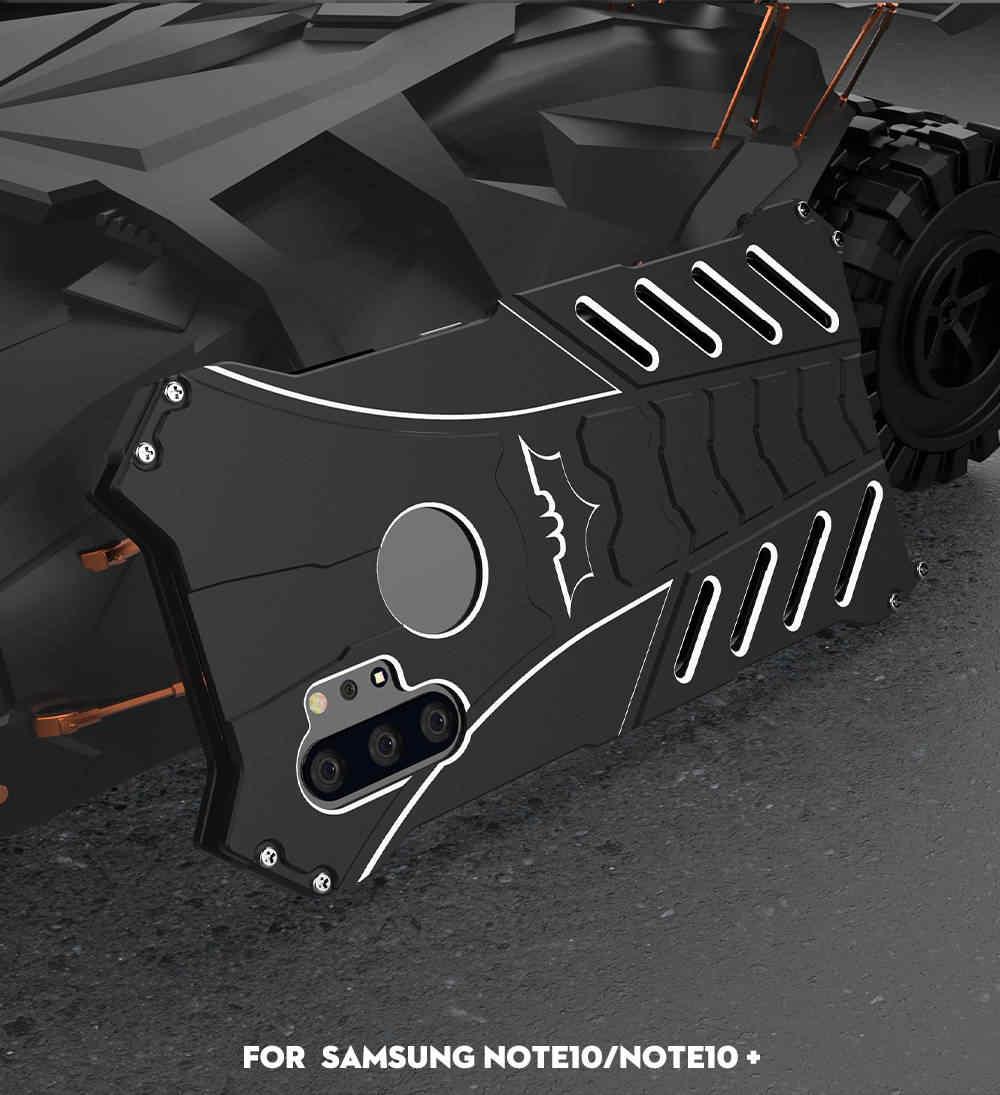 Aluminium Bumper Batman Armor Logam Case untuk Samsung Galaxy Note 10 Plus 9 8 S10 S10E S9 S8 S7 Edge penutup Sekrup Fundas Coque Capa