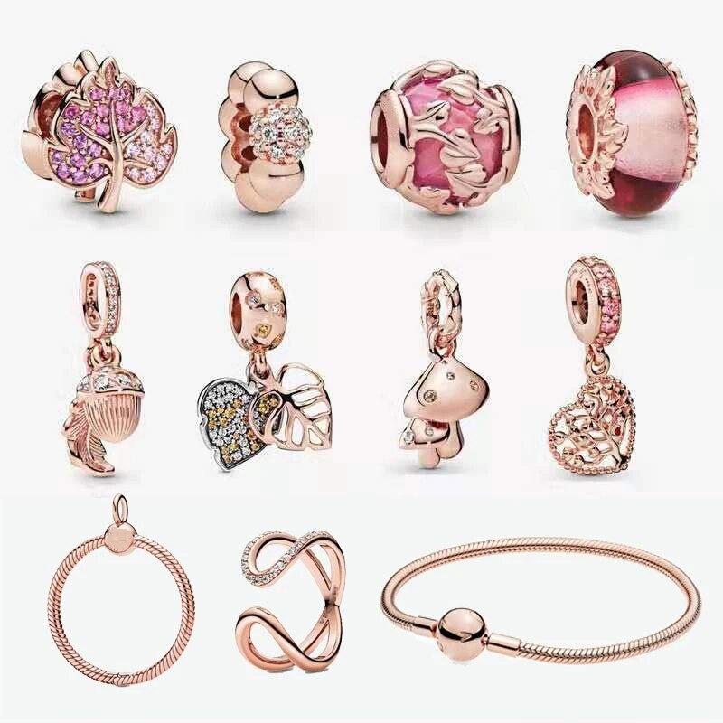 Hot Sale Real 92 5 Berbentuk Hati Maple Daun Rose Gold Series Fit Asli Pandora Gelang Fashion Diy Perhiasan Untuk Wanita Charms Aliexpress