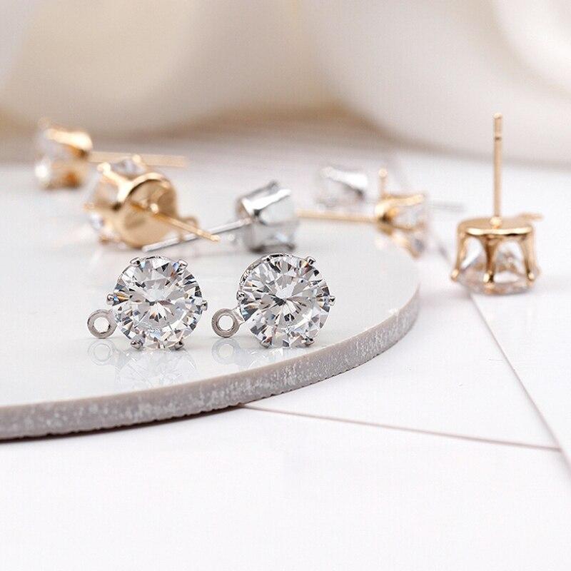 5Pairs DIY Earrings Jewelry Making Hook Round Crystal Stud Earrings Hook Findings Accessory