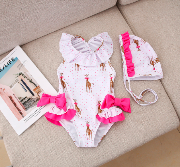 Baby Girl Swimsuit Children's Bathing Bodysuits Bikini Girls Swimwear Summer New Girl Swimwear With Hat Giraffe Bow Kids Cute