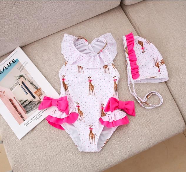 Baby Girl Swimsuit Children's Bathing Bodysuits Bikini Girls Swimwear Summer New Girl Swimwear With Hat Giraffe Bow Kids Cute