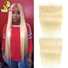 Perruque Lace Frontal Closure wig naturelle péruvienne Remy | Cheveux lisses, blond 613, 13*4, avec Baby Hair, partie libre
