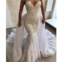 Sexy Mermaid Wedding Dress 2 in 1Lace Appliques Sweetheart Bridal Wedding Gowns with Detachable Skirt Robe De Mariage