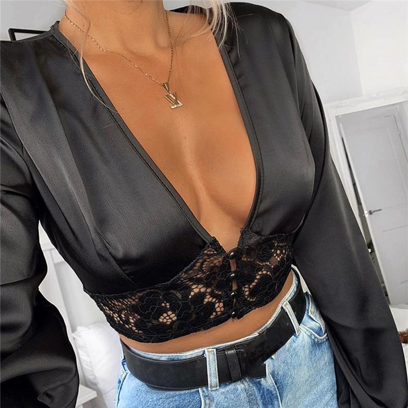 Deep V Neck Hollow Out Shirt Blouses Crop Tops Clubwear Women Fall Autumn Lace Floral Long Sleeve Sexy Bodycon Shirt Blouse 2019