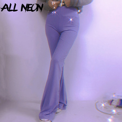 ALLNeon E-girl Sweet Slim Knitted Ribbed Flare Pants 90s Fashion Autumn Casual Bodycon High Waist Trousers Y2K Vintage Bottoms
