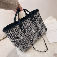 Caker Brand 2019 Women Large Big Chain Canvas Handbag Plaid Shopping Bags Travel Bag Drop Shipping