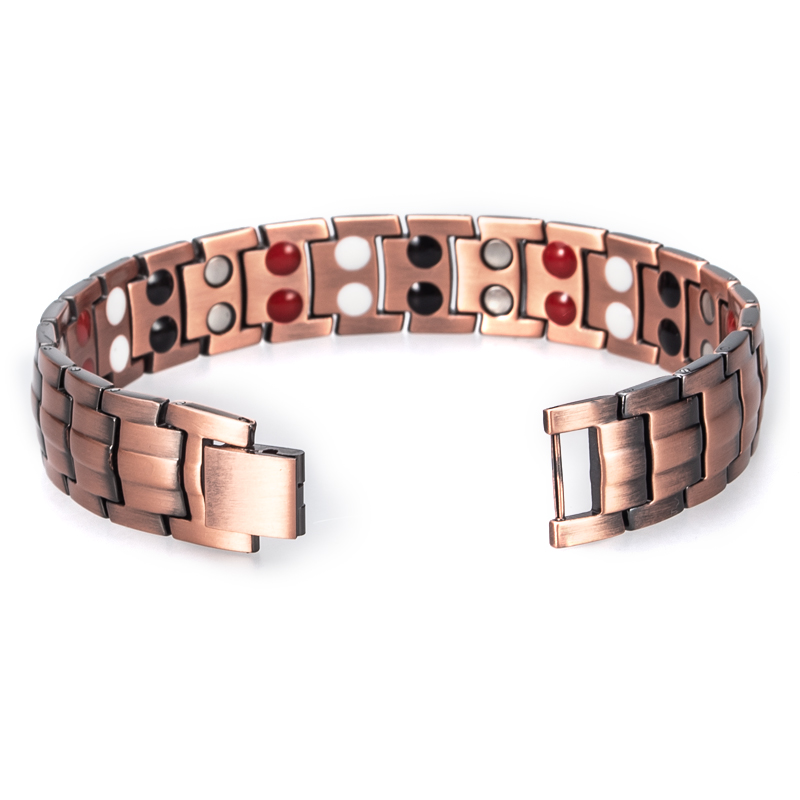 Hottime Double Row 4 IN 1 Bio Elements Energy Magnetic Bracelet Men's Fashion Healing 99.95% Pure Copper Bracelets Bangles