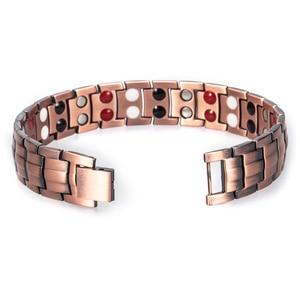 Image 3 - Hottime Double Row 4 IN 1 Bio Elements Energy Magnetic Bracelet Mens Fashion Healing 99.95% Pure Copper Bracelets Bangles