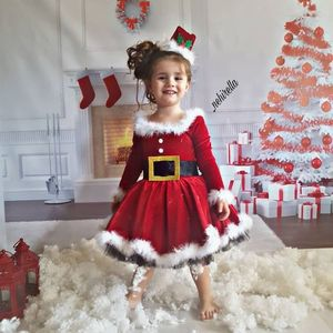 Christmas Kids Baby Girls Fleece Dress O-Neck Long-Sleeve High-Waist Skirt with Back Zipper Party Pageant Santa Dresses 6M-4Y