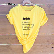 JFUNCY Faith Christ Jesus Summer Soft Cotton T-shirts Women Casual Tshirt Female Plus Size Harajuku Graphic Tee Tops(China)