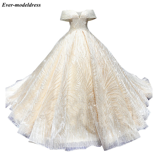 Luxury Wedding Dresses 2021 Off Shoulder African Sparkly V-Neck Lace Up Back Ball Gown Court Train Bridal Robe Do Mariee 6