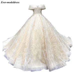 Image 5 - Luxury Wedding Dresses  2020 Off Shoulder Lace Up African Sparkly Ball Gown Bride  Robe Do Mariee Vestido De Noiva