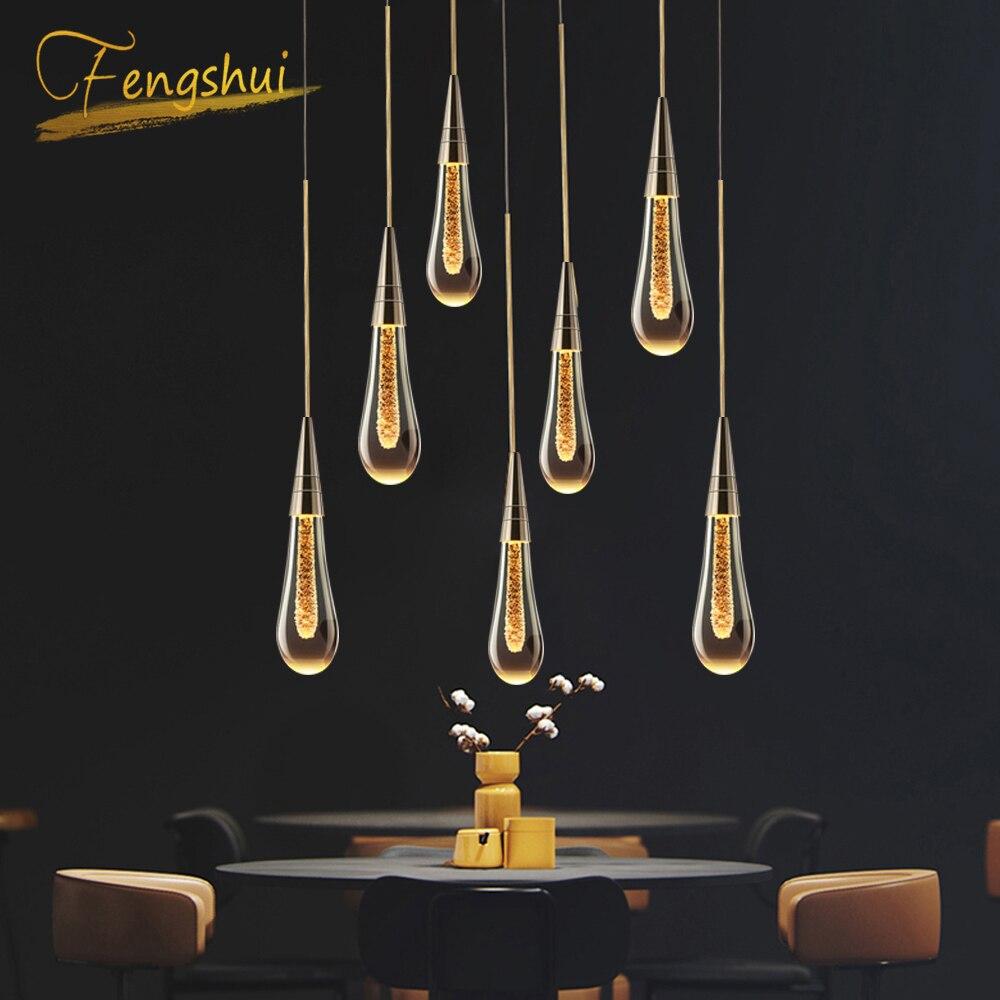 โมเดิร์นคริสตัลหรูหราจี้ไฟทองชุบห้องครัว Hall Nordic แขวนโคมไฟห้องนอน Art โคมไฟ