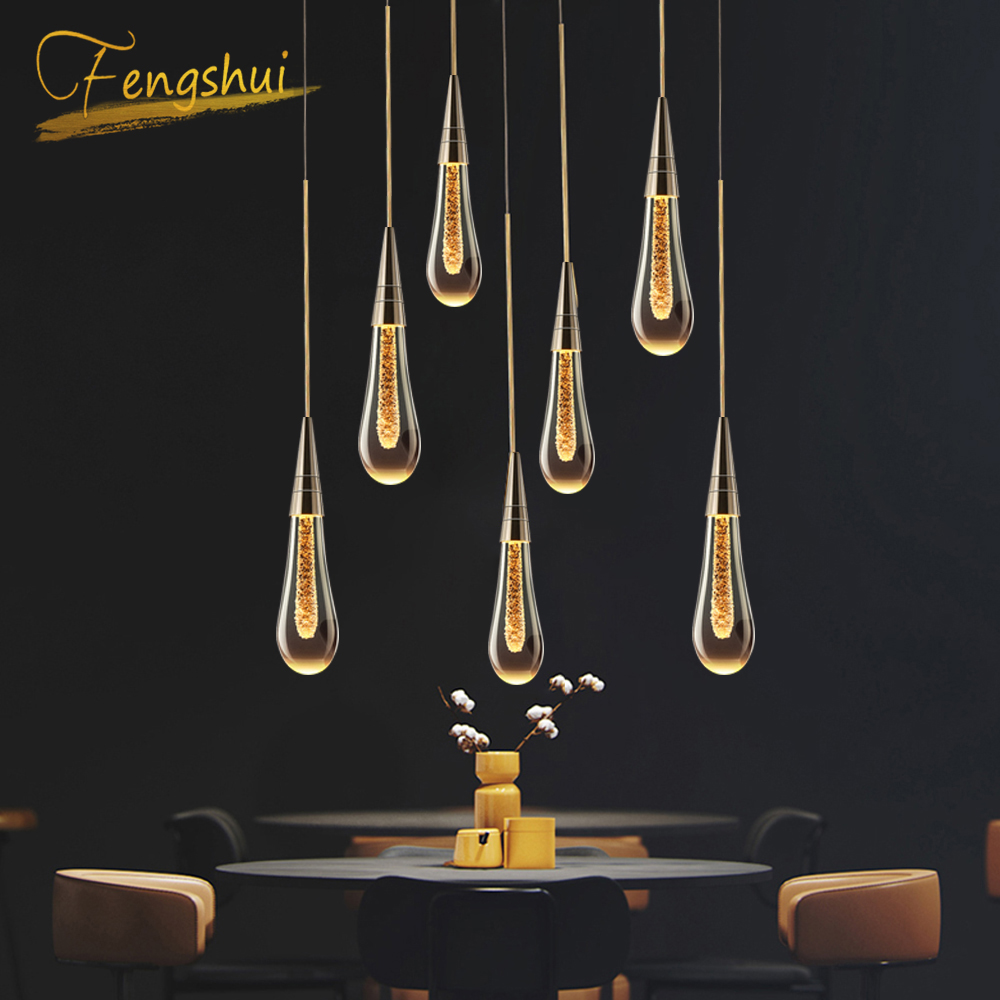 Luces colgantes modernas de lujo Cyrstal chapado en oro cocina Hotel Hall luz nórdica lámpara colgante dormitorio arte lámpara colgante iluminación
