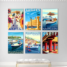 Canvas Painting Posters Island Fishing-Boats Greece Seascape Athens Home-Decorative-Pictures