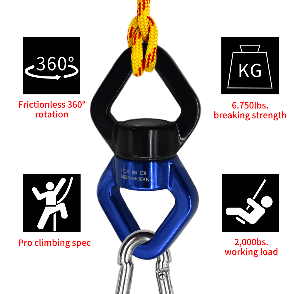 Yoga Swivel Rotary Aluminum Carabiner Multi Tool Climbing Ring 30kN Protection Rotator Rotational Swing Ultralight Rope Blue Red
