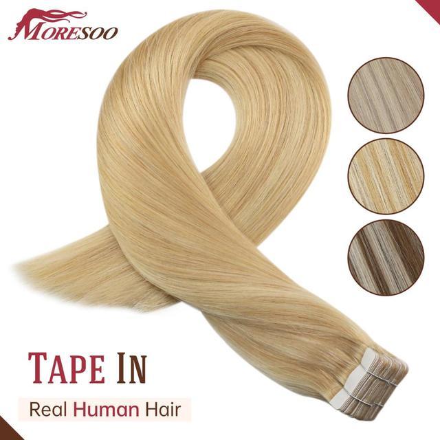 Cinta de extensión de cabello humano, gran oferta, en máquina brasileña, cabello Remy, reflejos Rubio, cinta de doble cara, 12 24 pulgadas, pelo de trama de recubrimiento de PU