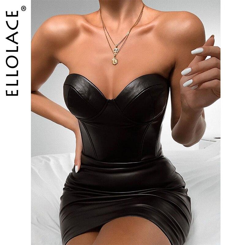 Ellolace Sexy Strapless Pu Leather Bodycon Dress Women Solid Backless Sleeveless Club Midi Dress Female 2019 New Black Dresses