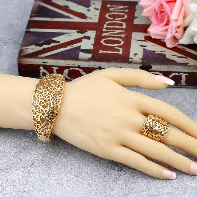 Sunspicems 2020 cor do ouro metal árabe conjunto de jóias oco pulseira brinco colar anel casamento bijoux argélia dubai nupcial presentes 5