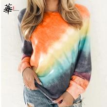 T shirt a Manica lunga Le Donne Arcobaleno Magliette E Camicette per Le Donne Autunno 2020 Delle Donne Più I Vestiti di Formato Maglietta Femme T shirt Casual Donna maglietteMagliette