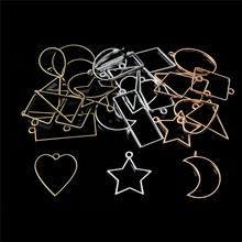 10pcs/Set Geometric Bezel Hollow Base Open UV Resin Crafts Blank Frame Charms Pendants DIY Earrings Necklace Jewelry Making