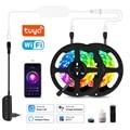С Alexa Google Tuya Wi-Fi умная Светодиодная лента светильник 5050 лента светодиодный светильник s цветная (RGB) Home голосовое Управление 5, 10 м, 15 м, 20 м SMD5050 ...