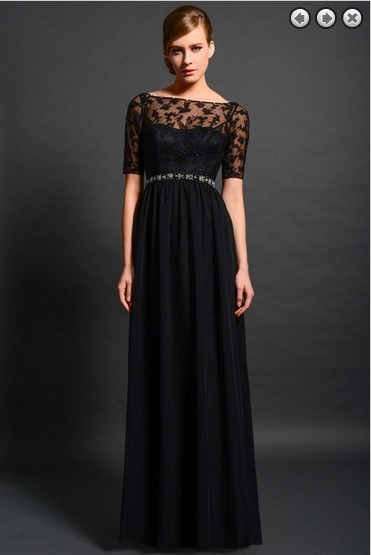 Maxi Elegant 2018 New Fashion Vestidos Formales Long Beaded Lace Black Evening Gown With Sleeve Mother Of The Bride Dresses