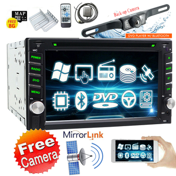 6.2 Double 2 Din In Dash Car Stereo DVD Player CD GPS Navigation Bluetooth Mirror Link MP3 Autoradio +Backup Camera+8G Map image
