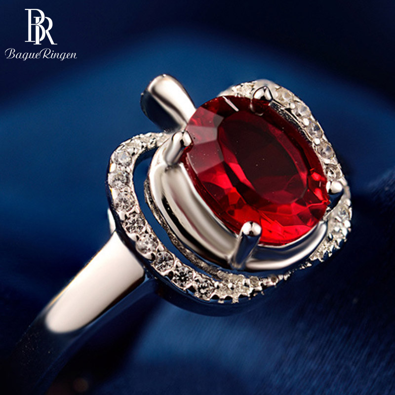 Bague Ringen 100% Real 925 Sterling Silver Ring With  8*5mm Luxury Natural Ruby Gestone Engagement Ring Wedding Party Gift