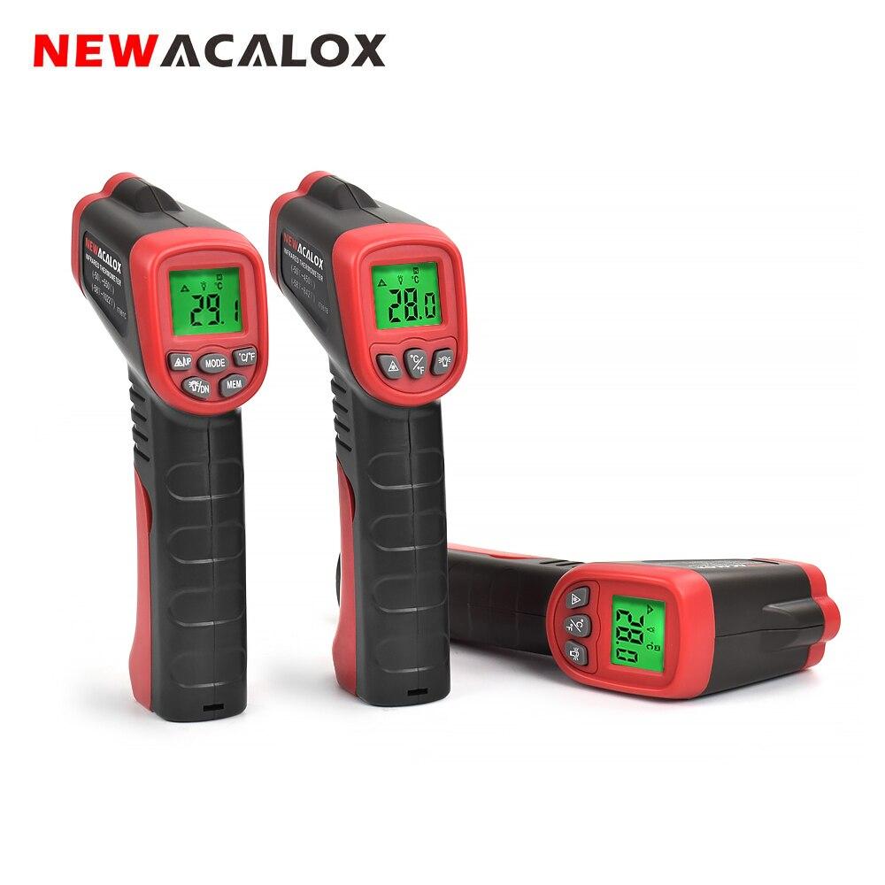 NEWACALOX Non contact Infrared Temperature Tester LCD Backlit  Temperature Instruments Industrial IR Laser Point Gun Temp  TestTemperature Instruments   -