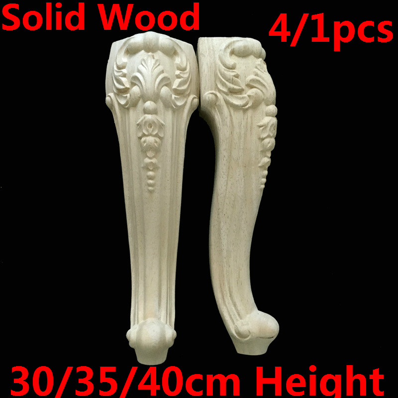 4/1pcs Solid Wood Furniture Legs Feet Replacement Sofa Couch Chair Table Cabinet Furniture Carving Legs 30/35/40cm Height