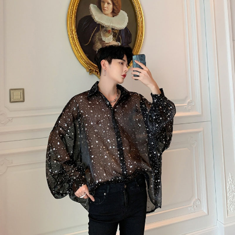 Summer mesh see-through sexy oversize men shirt stars printed large size blouse man vintage long sleeve transparent thin shirts