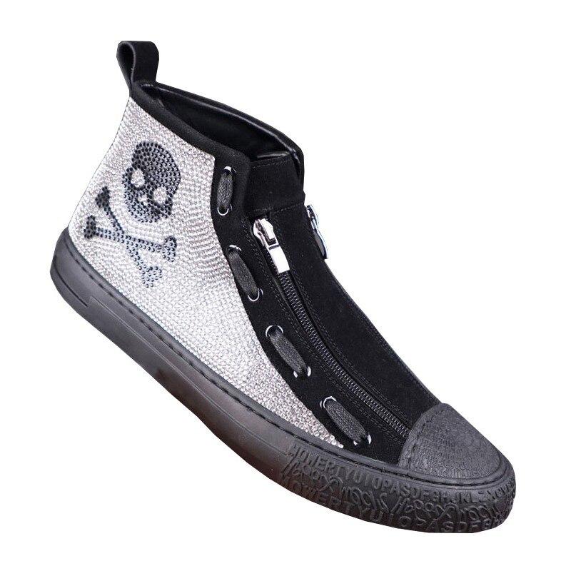 Crâne hommes mocassins hauts brillant diamant strass couture hommes chaussures décontracté Hip Hop chaussures plates baskets zapatas Botas Hombre en gros