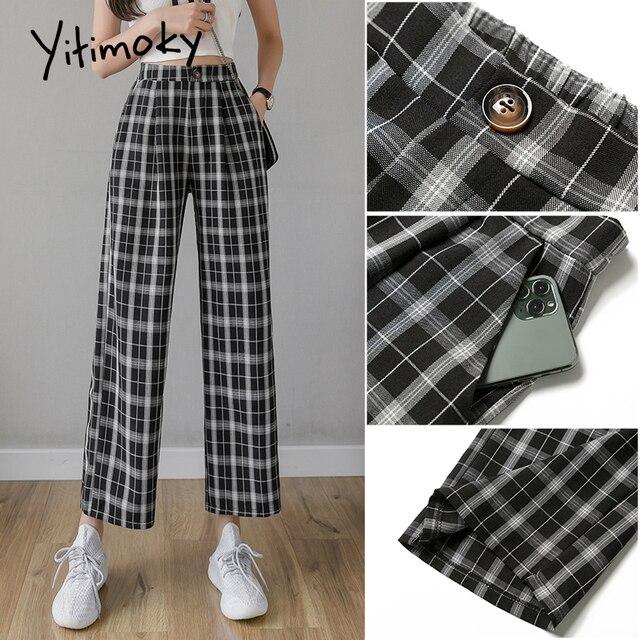 Yitimoky Vintage Plaid Pants Women High Waist Plus Size Wide Leg Casual Female Trousers 2021 Summer Joggers Clothes Streetwear 4