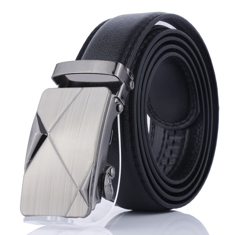 Men's Automatic Buckle Belt Young People Metal Geometric Pattern Simple Buckle Highgrade Luxury Business Belt Ceinture Homme P55