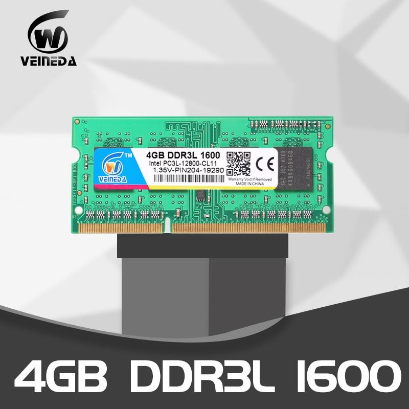 VEINEDA Sodimm DDR3L 2gb 4gb 8gb 1333mhz 1600MHz Ram Memory DDR 3L PC3-12800 204PIN DDR3 ForLaptop