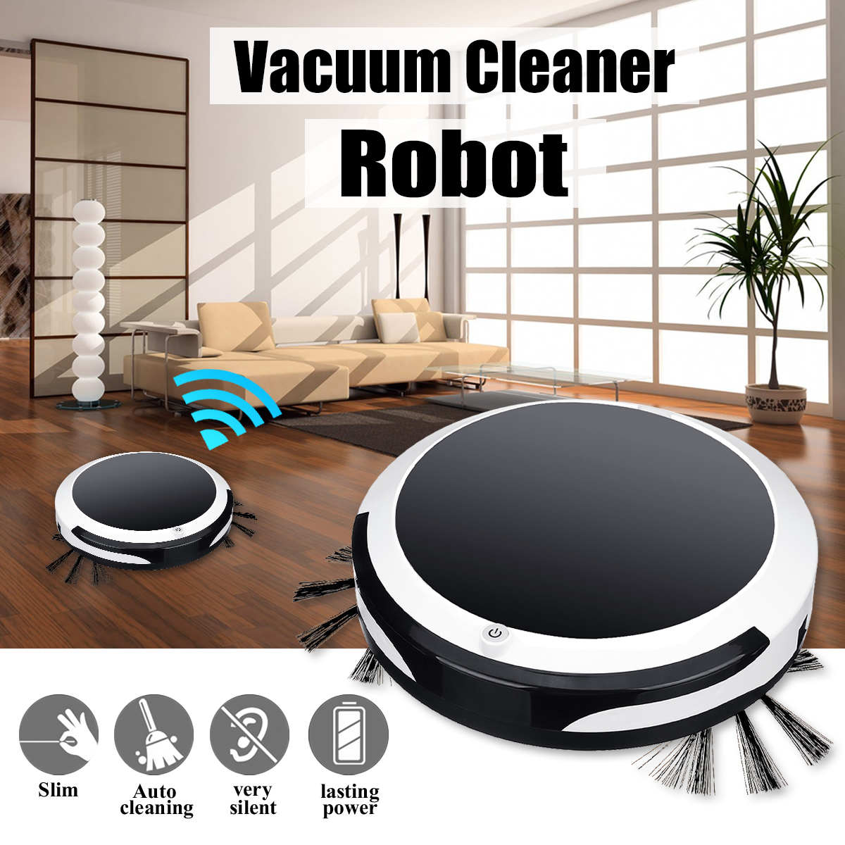 3in1 Smart Robot Vacuum Cleaner for Home Office Sweeping Robot Sweep Suction Drag Machine 1200PA Wet Dry Vacuum Cleaner Sweeping image